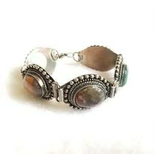 Made In India Silver Multicolor Stone Bracelet